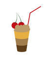 icon in flat design for restaurant milkshake with vector image vector image