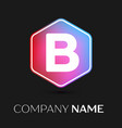letter b logo symbol in colorful hexagonal vector image vector image