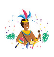 man celebrating brazil carnival vector image