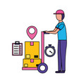man fast delivery vector image vector image