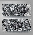 medicine hand drawn doodle banners design vector image
