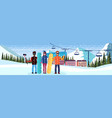 mix race snowboarders taking selfie ski resort vector image