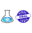mosaic infection retort icon with textured viral vector image vector image