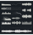 Music sound waves set isolated on a dark