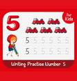 number five tracing worksheets vector image