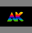 rainbow color colored colorful alphabet letter ak vector image vector image