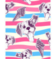 seamless pattern with pretty puppy and icecream vector image vector image
