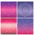 set of cards with indian mandala on bright violet vector image vector image