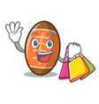 shopping rugby ball character cartoon vector image vector image