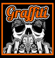 skull hand holding spay paint graffiti vector image vector image