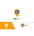soccer and map pointer logo combination vector image