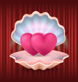 valentine postcard heart in seashell love vector image