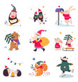 xmas animals cartoon characters merry christmas vector image