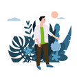 young man guy in white jacket background vector image vector image