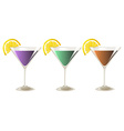 Three glasses of cocktail drinks vector image