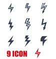 black lightning icon set vector image