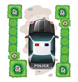 A topview of a police car vector image vector image
