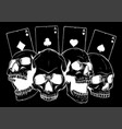 aces and skull in black background vector image vector image