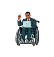 african businessman in wheelchair isolated on vector image