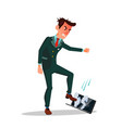 angry businessman treading his laptop flat vector image vector image