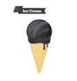 black charcoal ice cream in cone dessert vector image vector image