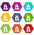 bonfire icons set 9 vector image