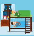 boys asleep in bunk bed in night bedroom vector image