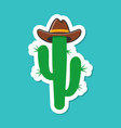 cartoon cowboy cactus plant label vector image