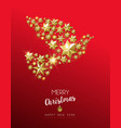 christmas gold star shape dove on red background vector image vector image