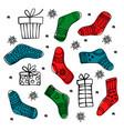 christmas socks set color set vector image