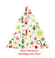 christmas tree card with flat xmas icons vector image