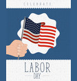 colorful poster with zigzag lines of labor day vector image