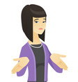 confused asian business woman shrugging shoulders vector image vector image