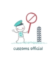 customs officer holding a stop sign vector image vector image