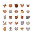 cute face animals cartoon icons set vector image vector image