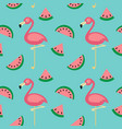 flamingowatermelon seamless pattern vector image vector image