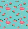 Flamingowatermelon seamless pattern