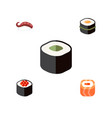 flat icon sushi set of japanese food sashimi vector image