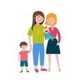 Gay families Happy family couple with kids vector image