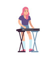 girl and electronic piano young woman plays vector image vector image