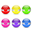 glossy heart spheres vector image vector image