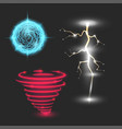 glowing magic lightning set energy ball neon vector image