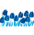 graphic tulip flowers in monochrome blue color vector image vector image