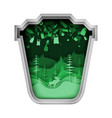 green trash can with plastic garbage forest nature vector image vector image