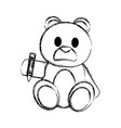 grunge bear teddy cute toy with crayon vector image vector image