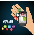 hand hold smart watch wearable technology new vector image vector image