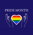 hands holding rainbow heart lgbtq concept vector image