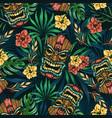 hawaiian tropical colorful seamless pattern vector image