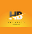 hb h b letter modern logo design with yellow vector image vector image
