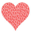 hearts suit collage of dollar vector image
